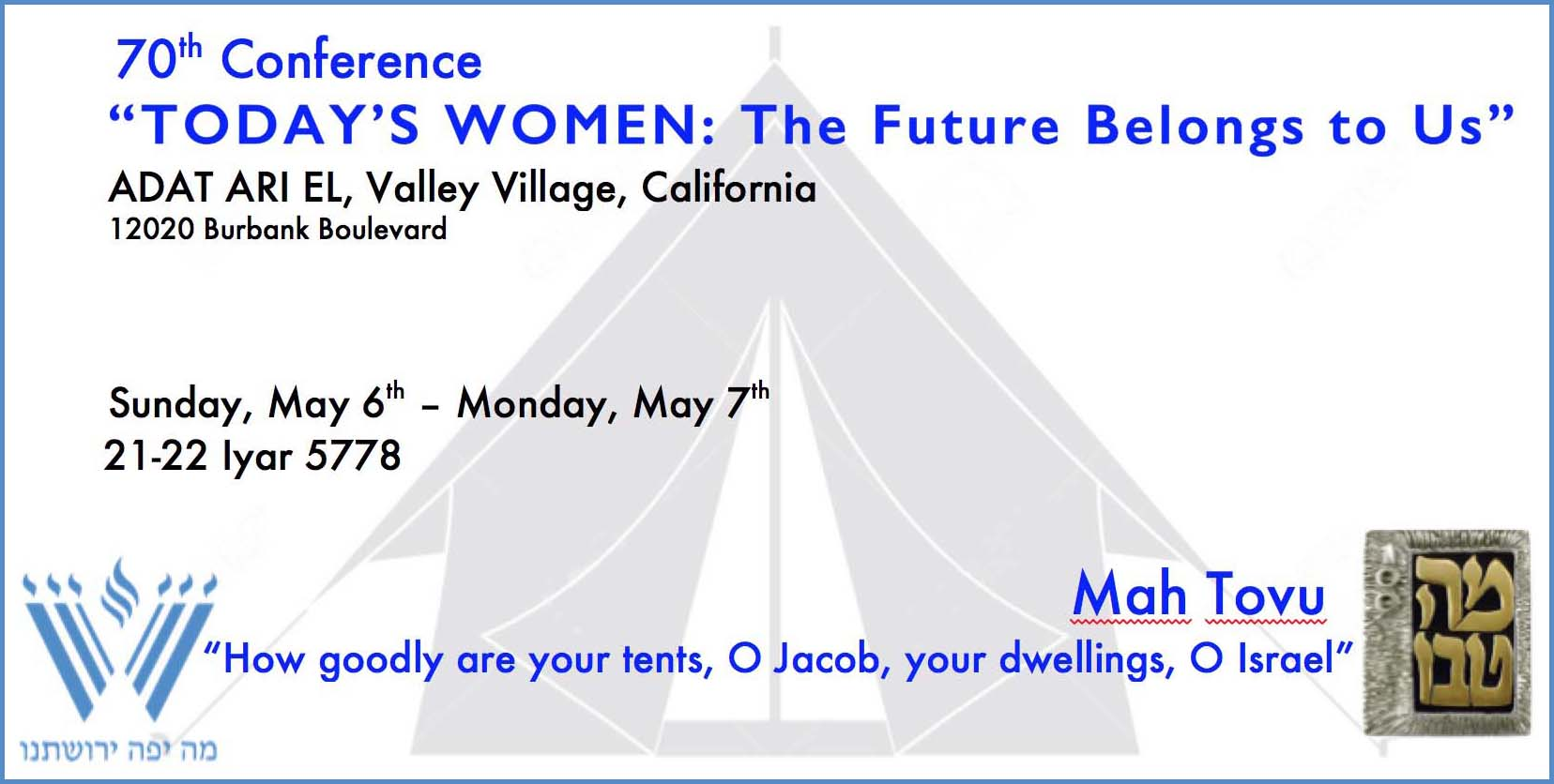 The Future Belongs to Us PSW Conference May 6 & 7, 2018 at Adat Ari El